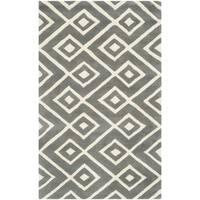 Safavieh Handmade Chatham Dark Grey/ Ivory Wool Rug - 2' x 3'