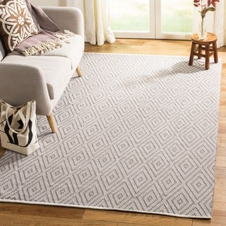Safavieh Hand-Woven Montauk Grey/ Ivory Cotton Rug (11' x 15')