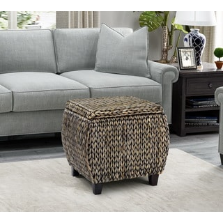 Gallerie Decor Bali Breeze Round Storage Ottoman