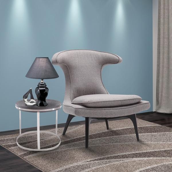 Shop armen living aria black wood upholstered high back - Upholstered living room chairs sale ...