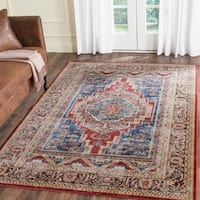 Safavieh Bijar Traditional Oriental Royal Blue/ Brown Distressed Rug - 6' 7 x 9'