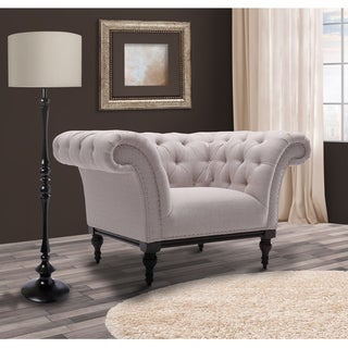 Armen Living Avery Sand Fabric Tufted Accent Chair