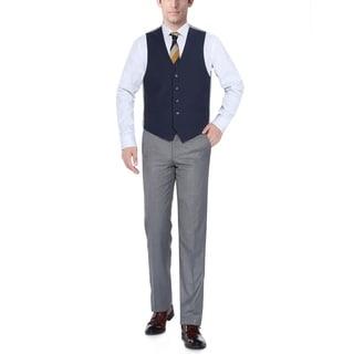 Verno Navy Men's Five Button Classic Fit Vest