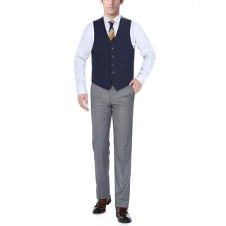 Verno Navy Men's Five Button Classic Fit Vest|https://ak1.ostkcdn.com/images/products/11721590/P18641717.jpg?impolicy=medium