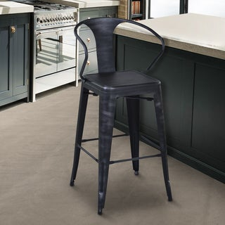 Armen Living Berkeley Grey Bar Height Stool