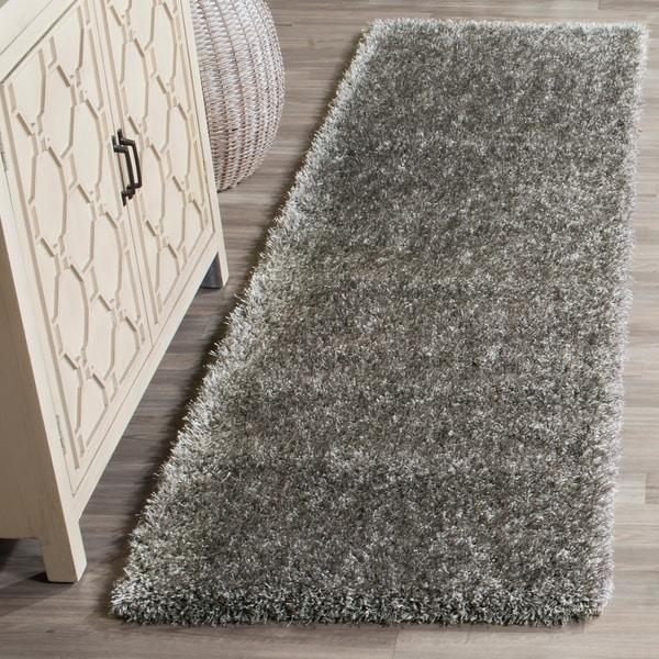 Safavieh Charlotte Shag Grey Plush Polyester Rug - 2' 3 x 8'