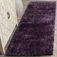 """Safavieh Charlotte Shag Lavender Plush Polyester Rug - 2'3"""" x 8' Runner"""