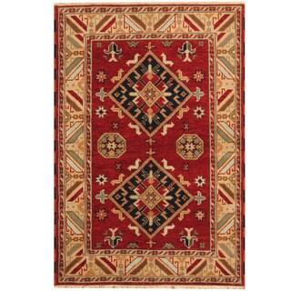 Herat Oriental Indo Hand-knotted Tribal Kazak Red/ Gold Wool Rug (4'2 x 6'1)