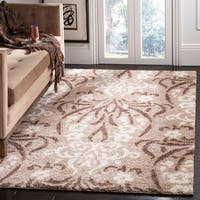 Safavieh Florida Shag Beige/ Cream Damask Area Rug - 11' x 15'