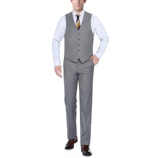 Verno Light Grey Men's Five Button Classic Fit Vest