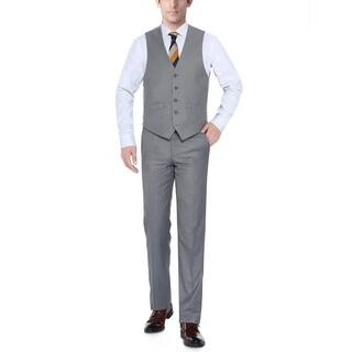 Verno Light Grey Men's Five Button Classic Fit Vest|https://ak1.ostkcdn.com/images/products/11721645/P18641802.jpg?impolicy=medium
