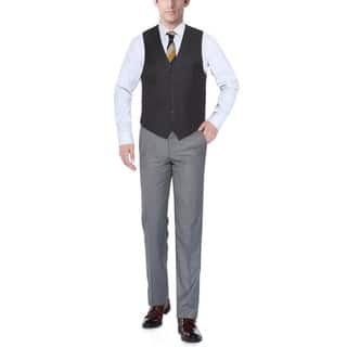 Verno Dark Grey Men's Five Button Classic Fit Vest|https://ak1.ostkcdn.com/images/products/11721647/P18641803.jpg?impolicy=medium