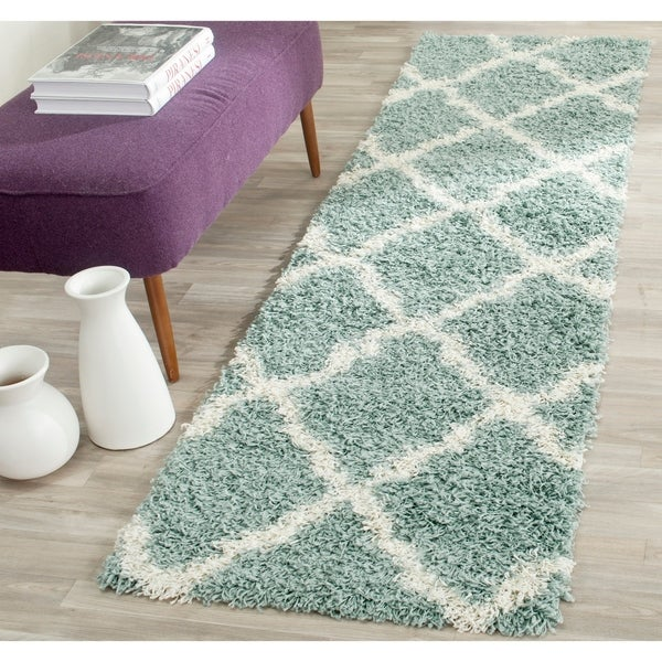 Safavieh Dallas Shag Light Blue/ Ivory Trellis Rug - 2' 3 x 6'