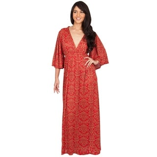 Koh Koh Women's Elegant V-Neck Kimono Sleeve Long Cocktail Maxi Dress