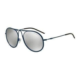 Emporio Armani Men's EA2034 30196G Blue Metal Round Sunglasses