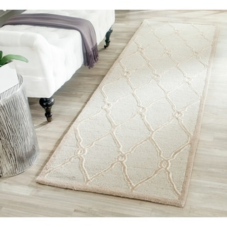 Safavieh Handmade Cambridge Light Grey/ Ivory Wool Rug (2' 6 x 10')