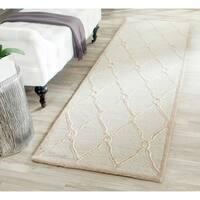 Safavieh Handmade Cambridge Light Grey/ Ivory Wool Rug - 2' 6 x 10'
