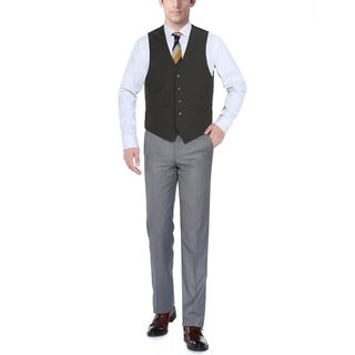 Verno Men's Black Five Button Classic Fit Vest