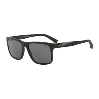 Emporio Armani Men's EA4071 504281 Black Plastic Square Sunglasses