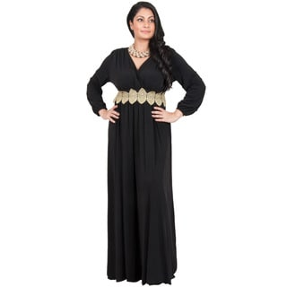 KOH KOH Women's Plus Size Long Sleeve Cross Over V-Neck Elegant Gown Maxi Dress