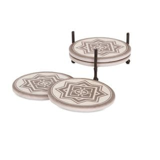 Beth Kushnick Crest Coasters with Caddy