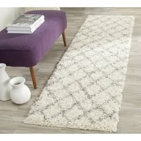 "Safavieh Dallas Shag Ivory/ Grey Trellis Runner - 2'3"" x 10'"
