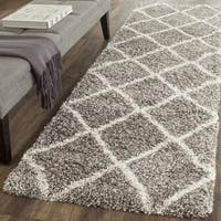 Safavieh Hudson Diamond Shag Grey/ Ivory Runner Rug - 2' 3 x 12'