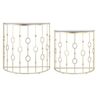 Metal Half Moon Nesting Console Table with Mirror Top and Half Moon Base Set of Two Metallic Finish