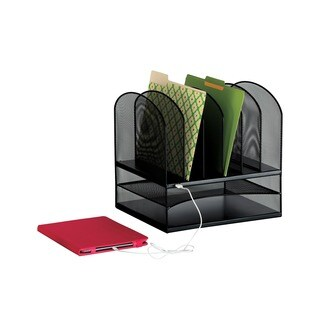 Powered Onyx Mesh Desktop Organizer with 2 Horizontal/6 Vertical sections and USB port