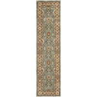Safavieh Hand-hooked Total Perform Blue/ Taupe Acrylic Rug - 2'3 x 9'