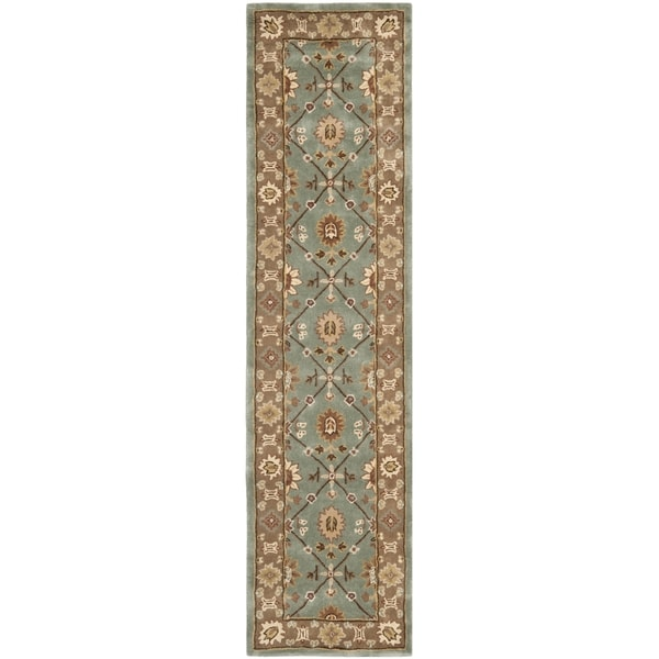 Safavieh Hand-hooked Total Perform Blue/ Taupe Acrylic Rug (2' 3 x 9')