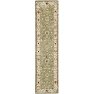 Safavieh Hand-hooked Total Perform Green/ Ivory Acrylic Rug (2' 3 x 9')