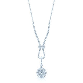 14k White Gold 3/4ct TDW Diamond Cluster Necklace (G-H, VS1-VS2)