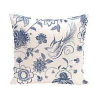 Traditional Bird Floral Floral 20 x 20-inch Outdoor Pillow