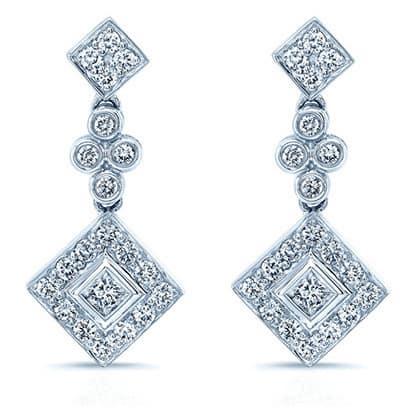 14k White Gold 3/4ct TDW Diamond Drop Earrings