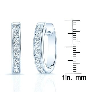 14k White Gold 2ct TDW Diamond Hoops Earrings (H-I, VS1-VS2)