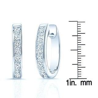 14k White Gold 2ct TDW Diamond Hoops Earrings