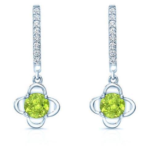 14k White Gold Peridot and 1/6ct TDW Diamond Drop Earrings (H-I, VS)