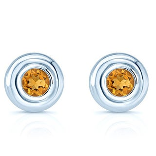 14k White Gold 5mm Citrine Studs Earrings