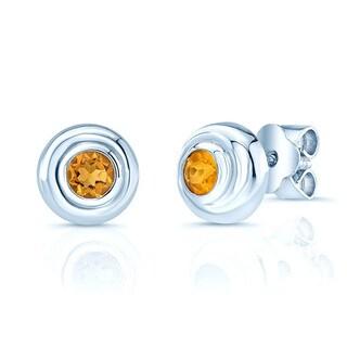 14k White Gold 3mm Citrine Studs Earrings