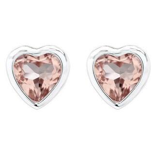 14k White Gold 7mm Morganite Heart Shape Studs Earrings