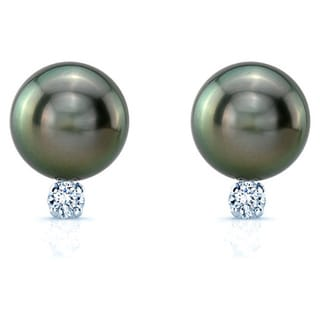 14k White Gold South Sea Pearl and 1/6ct TDW Diamond Earrings (H-I, SI1-SI2)