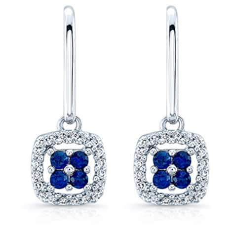 14k White Gold Sapphire and 1/5ct TDW Diamond Drop Earrings (H-I, SI1-SI2)
