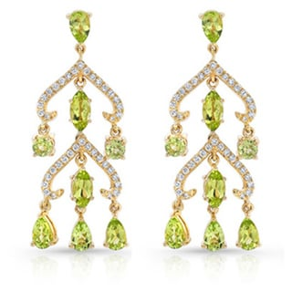 14k Yellow Gold Peridot and 1/3ct TDW Diamond Chandelier Earrings (H-I, VS1-VS2)
