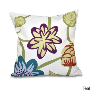 Tropical Floral  20 x 20-inch Outdoor Pillow (Teal)