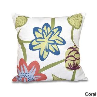 Tropical Floral  20 x 20-inch Outdoor Pillow (Coral)