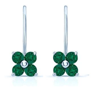 14k White Gold 3mm Created Emerald Flower Earrings