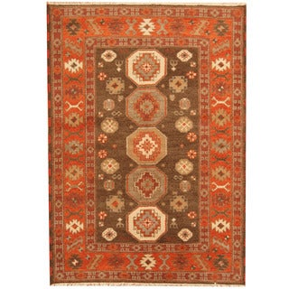 Herat Oriental Indo Hand-knotted Tribal Kazak Brown/ Red Wool Rug (4'9 x 6'7)