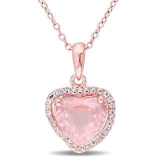 Miadora Rose Plated Silver Rose Quartz and White Topaz Halo Heart Necklace