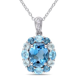 Miadora Sterling Silver Blue and White Topaz Halo Necklace